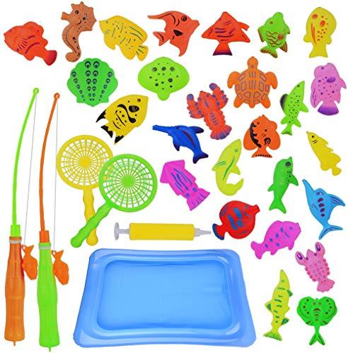 Abree 30 stks Magnetisch Vissen Toy, Drijvend Bad Spel Speelgoed met Netto Game Set Bad voor Kinderen Vissen Leren…