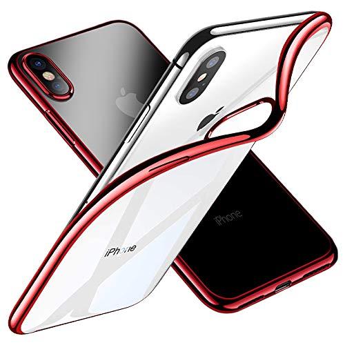iPhone X Coque, Ezzymob [Ultra mince] [fin] Apple iPhone X Cristal Clair Transparent Gel Coque de téléphone avec une prise en main, [anti-rayures] [antichoc] [Apple iPhone X, iPhone 10Coque] [support chargement sans fil] [protection d'écran incluse] Red