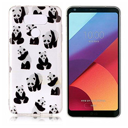 Funda LG G6 E-Lush TPU Silicona Carcasa Brillo Fundas LG G6 Suave Protectora Caso Ultra Delgado Cubierta Ligero Case Flexible Transparente Bumper Anti Rasguños Ligero Caja Anti Choque Case Cover - Per Panda