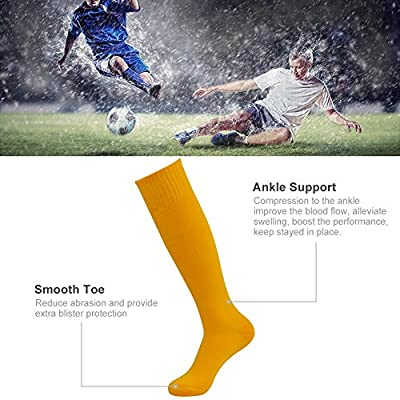 3street Unisex Knee High Solid Sport Tube Compression Soccer Socks 2/6/10 Pairs