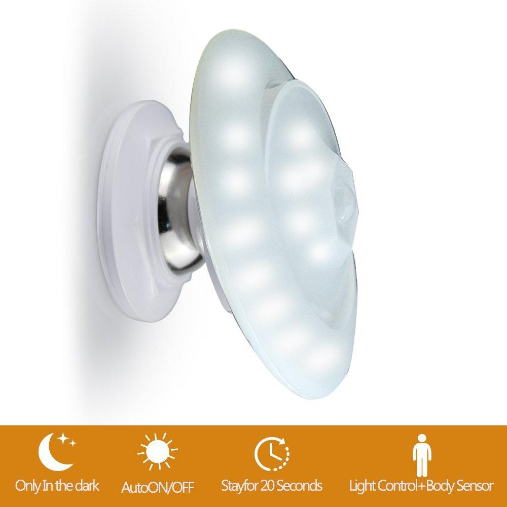 Sensor Movimiento Luz Noche LED - VICTORSTAR 30 LED UFO Detección Inalámbrica Activado Luz Giratoria de la Noche 360 °, Alimentado, PIR Sensor de Movimiento + Sensor de Luz, Base de Imán y Portátil Para Guardarropa, Gabinete, Armario, Cámping, Corredor, Es