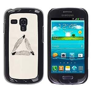 Paccase / SLIM PC / Aliminium Casa Carcasa Funda Case Cover para - Feather Triangle Meaning Symbolism Beige - Samsung Galaxy S3 MINI NOT REGULAR! I8190 I8190N