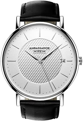 Ambassador Luxury Watch for Men – Heritage 1921 Silver Case with Black Leather Strap with Swiss Quality