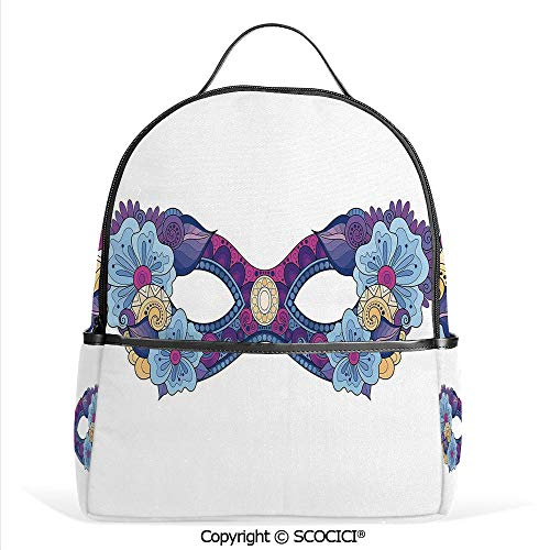All Over Printed Backpack Colored Carnival Mask with Flowers for Masked Ball Celebration,Slate Blue Purple Fuchsia,For Girls Cute Elementary School - Cabelas Stove