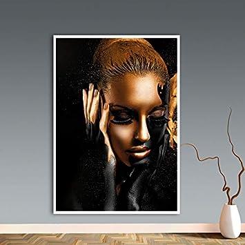 HGlSG Oro Negro Arte Africano Mujer Pintura al óleo sobre Lienzo Cuadros Carteles e Impresiones Escandinavo Imagen de la Pared Decoración de la Sala A1 50x70cm