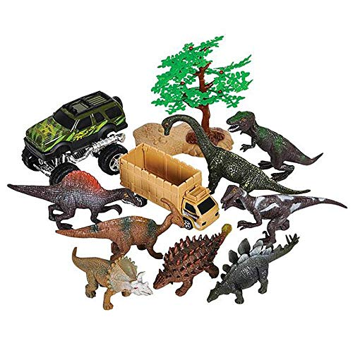 (11-Piece Dinosaur Playset - Explorer Theme Dino Park Miniatures - Realistic Plastic Figures for Play Pretend- Assembly Toys for Kids - Great, Birthday Gift and Party Souvenir)