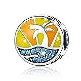 BAMOER Enamel Dazzling Summer Beach Sterling Silver Beads fit Charm Bracelet