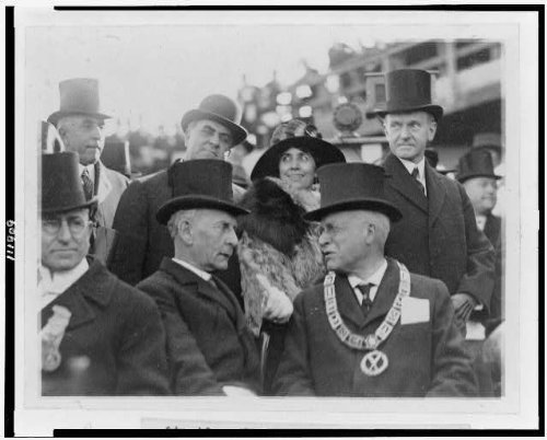 Historic Photos 1923 Photo President and Mrs. Coolidge at The Laying of The Cornerstone of The George Washington Masonic National Memorial Location: Alexandria, Virginia