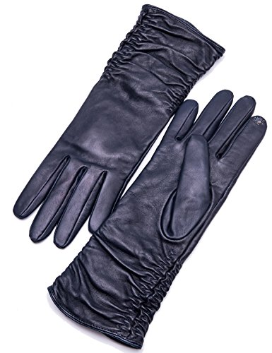Mid Arm Length Lace Gloves (YISEVEN Women's Touchscreen Leather Gloves Mid-length with Stylish Wrinkled Design and Opera Elbow Long for Winter Warm Fashion Stylish Dress Driving Gift Fleece Lined, Navy Blue 7