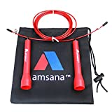 Amsana™ Red Cable Speed Jump Rope - Skipping rope - For Exercise, Boxing, Cardio, MMA & Cross fit Training - For Adults Men & Women - Includes Nylon Bag (Red)