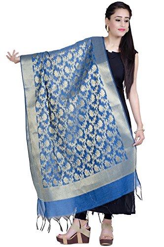 Chandrakala Women's Handwoven Blue Zari Work Banarasi Dupatta Stole Scarf,Free Size (D140BLU)