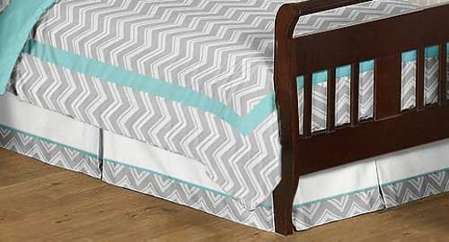 Sweet Jojo Designs Turquoise and Gray Chevron Zig Zag Bed Skirt for Toddler Bedding Sets