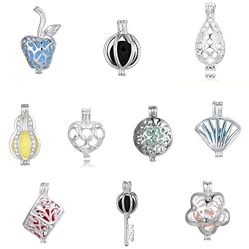 Boxes Pendant Silver Jewelry Charm (10pcs Mixed Shape Cage Locket Clip Gem Beads Box Pendant Charms Jewelry Findings,Essential Oil Diffuser Locket,Bracelet Charms,DIY Necklace Charms)