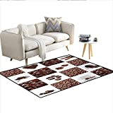 "Rug,Coffee Roasted Beans Concept Collage Hearts Stars Espresso Latte Mugs Aroma,Area Carpet,Brown WhiteSize:40""x55"""
