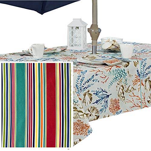 (Winslow Summer Stripe Indoor/Outdoor Soil Resistant and Water Repellent Fabric Tablecloth - Patio, Picnic, BBQ, Dining Room Table Linens, 60 X 84 Oblong/Rectangular Zippered Umbrella Hole Tablecloth)