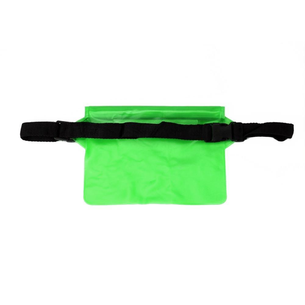 Start Sport Swimming Running Cycling Beach Waterproof Waist Belt Bag Items Dry Holder Strap Pouch (Green)