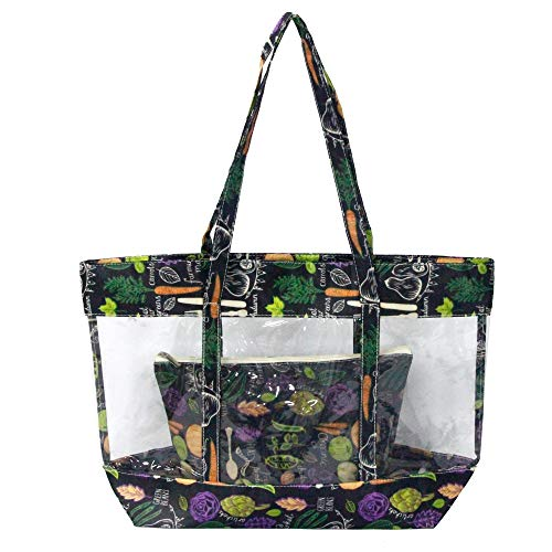 Leefun Women Clear Tote Bags Black Green Pattern Zipper Closure and Shoulder Straps is Great for Work Shop Sport School