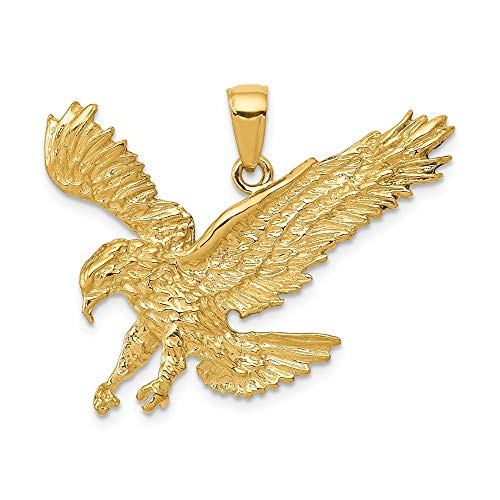 14K Yellow Gold Textured Eagle Landing Pendant from Roy Rose Jewelry