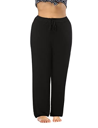 87dec843d58 Allegrace Women s Plus Size Comfy Stretch Long Pajama Pants Drawstring Sleep  Lounge Pants Black 1X