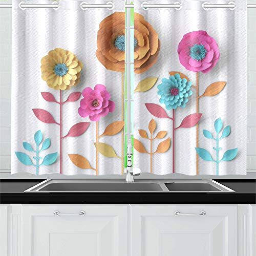 VNASKL 3D Vivid Paper Flowers Bright Kitchen Curtains Window Curtain Tiers for Cafe Bath Laundry Living Room Bedroom 26x39inch 2pieces