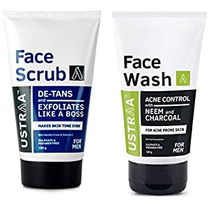 Ustraa Face Scrub 100g, De-tans and Exfoliates And Ustraa Face Wash Acne Control, Neem and Charcoal, 100 g