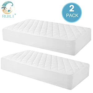 100% Waterproof 2 Pack Quilted Fitted Crib Mattress Protector, Soft Breathable Organic Bamboo Baby Waterproof Mattress Pad, Natural Vinyl Free Mattress Cover for Stains Proof