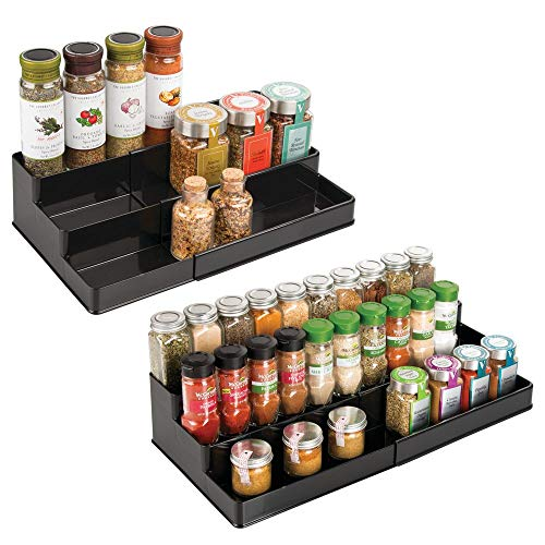mDesign Plastic Adjustable, Expandable Kitchen Cabinet, Pantry, Shelf Organizer/Spice Rack with 3 Tiered Levels of Storage for Spice Bottles, Jars, Seasonings, Baking Supplies, 2 Pack - Black
