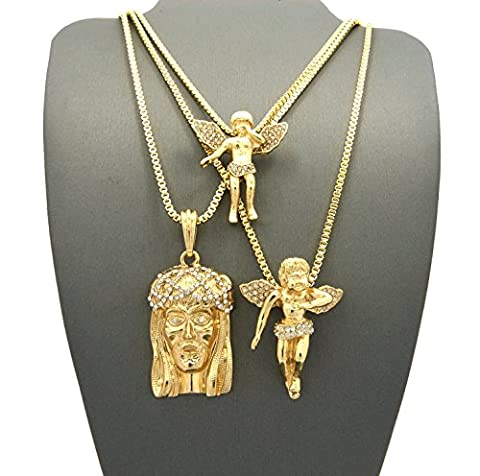 Crown Gold-Tone Three Pieces Micro Jesus and Angelsl Pendant Necklaces (Set I - Gold) (Angel Gold Chain For Men)