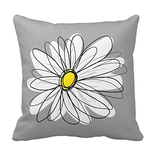 Trendy Daisy with gray and yellow Throw Pillowcase 16 x 16 Pillow Cover Twin Sides