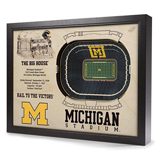YouTheFan NCAA Michigan Wolverines 25 Layer StadiumView 3D Wall Art ()