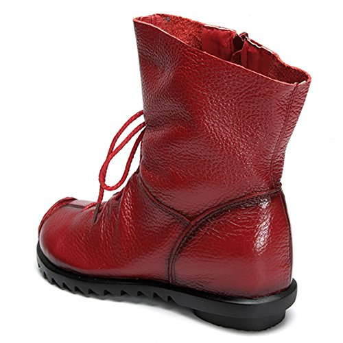 Ankle Shoes Red Fashion up Leather Socofy Oxford Boots Boot Zipper Lace Women's with Leather Bootie CwqxHzR5