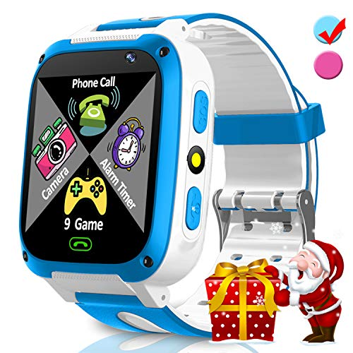 Kids Smart Phone Watch with 9 Puzzle Game SOS for Girls Boys Holiday Christmas Birthday Toys Gifts Game Watch 1.54'' HD Screen 2 Way Call Camera SOS Flashlight Alarm Timer for Learning Toys Outdoor