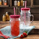 The Pioneer Woman Simple Homemade Goodness 32-Ounce Rasberry Double-Wall Mason Jar with Lid and Handle, Set of 2