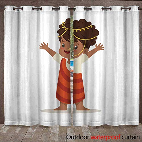 RenteriaDecor Outdoor Curtains for Patio Sheer Girl Wearing National Costume of Africa Colorful Character Vector Illustration W72 x L108 ()