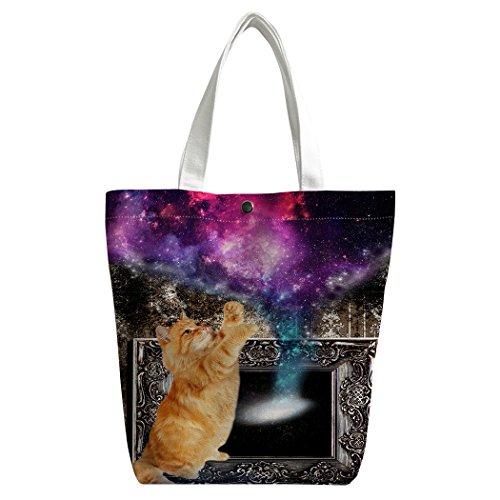 SXCHEN Custom Women Canvas Bags Shoulder Bag Handbag Lunch Bag Retro Fireplace Cat Galaxy Purple by SXCHEN