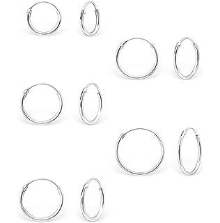 NANHONG Silver Hoop Earrings 12mm Sleeper Earrings in 925 Sterling Silver