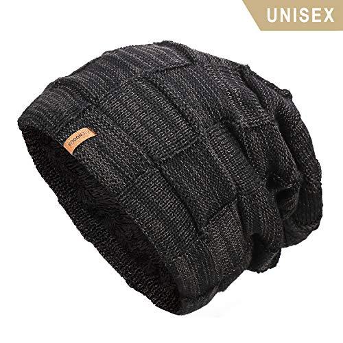 TRENDOUX Beanie Hat Men, Winter Knit Hats Warm Lining Women - Acrylic Unisex Plain Skull Cap - Baggy Slouchy Toboggan Beanies - Black