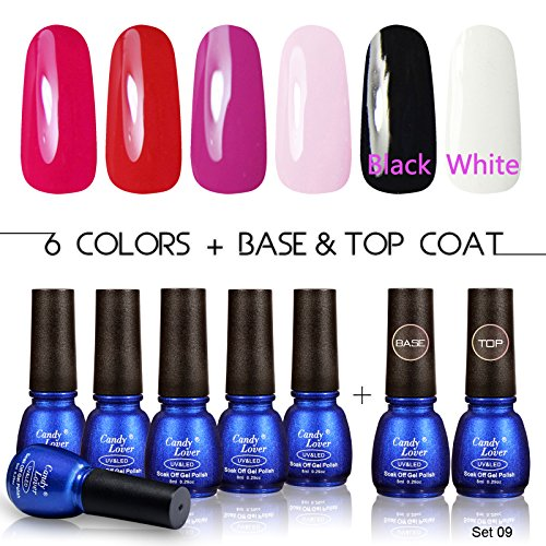 Professional Gel Polish UV LED - Soak Off Nail Lacquers Kit with Clear Base Coat and Top Coat for French Manicure Pedicure, Pack of 8, 8ml Each (Set (French Manicure Halloween Nails)