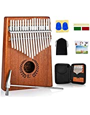 Everjoys Kalimba Thumb Piano 17 Keys, Portable Mbira Finger Piano w/Protective Case, Fast to Learn Songbook, Tuning Hammer, All in One Kit