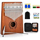 Kalimba Thumb Piano 17 Keys, Portable Mbira Finger Piano w/Protective Case, Fast to Learn Songbook, Tuning Hammer, All in One Kit (Mahogany)