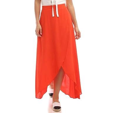 La Modeuse - Falda Larga asimétrica, Color Rojo y Naranja Naranja ...