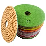 "Konfor Diamond Polishing Pads 5"" Wet/Dry for Marble Granite Concrete Travertine Polish 7 Pcs Set"