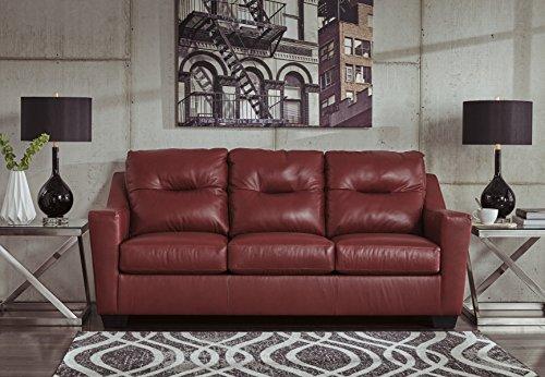 Kensbridge Contemporary Crimson Color 100% Leather Sofa