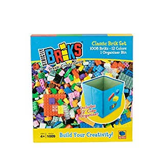 Strictly Briks - Classic Bricks - 1008 Piece Set in 12 Colors with a Collapsible Organizer - 100% Compatible with All Major Building Brick Brands