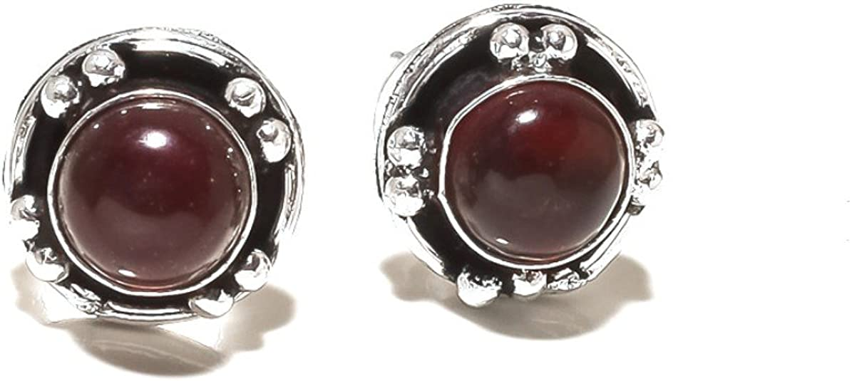 Red Dyed Ruby Sterling Silver Overlay 4 Grams Stud//Earring 10 mm Best Jewelry