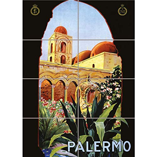 (PANEL ART PRINT TRAVEL PALERMO SICILY ITALY SUN NORMAN PALACE VINTAGE OLD ADVERTISING REPRODUCTION POSTER OZ4286)