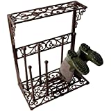 Cast Iron Wellington Boots Rack Indoor or Outdoor Wellies Holder with Boot Scraper (Holds 4 Pairs) by Fallen Fruits