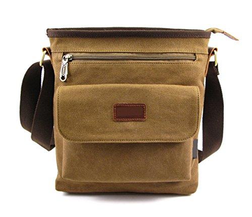 Männer Und Frauen Vintage-Leinwand Messenger Ipad Schulter Tote Sling Multifunktions Tasche,Brown-26cm*9cm*30cm