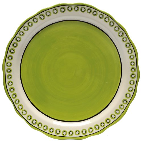 Caffco International M. Bagwell Colors Collection Ceramic Charger/ Serving Platter, 12.75-Inches in Diameter, Green by Caffco International