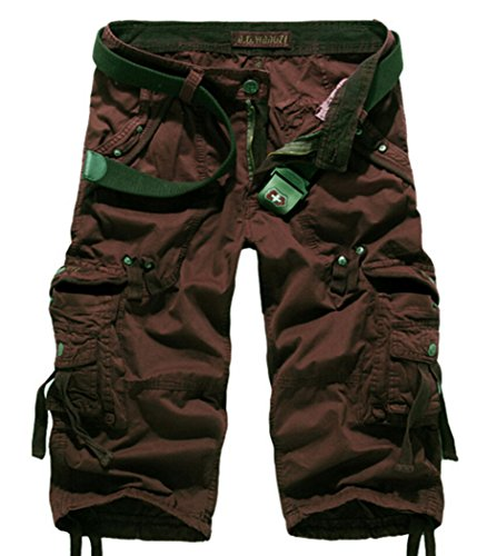 Amoystyle Men's Relaxed Fit Long Cargo Shorts Capri Pants Burgundy Tag 36 - Mens Messenger